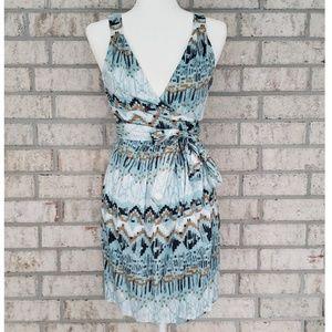 BCBGeneration Blue Rain Sleeveless Wrap Dress